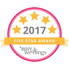 Easy Weddings 5star award Bronte Price2017