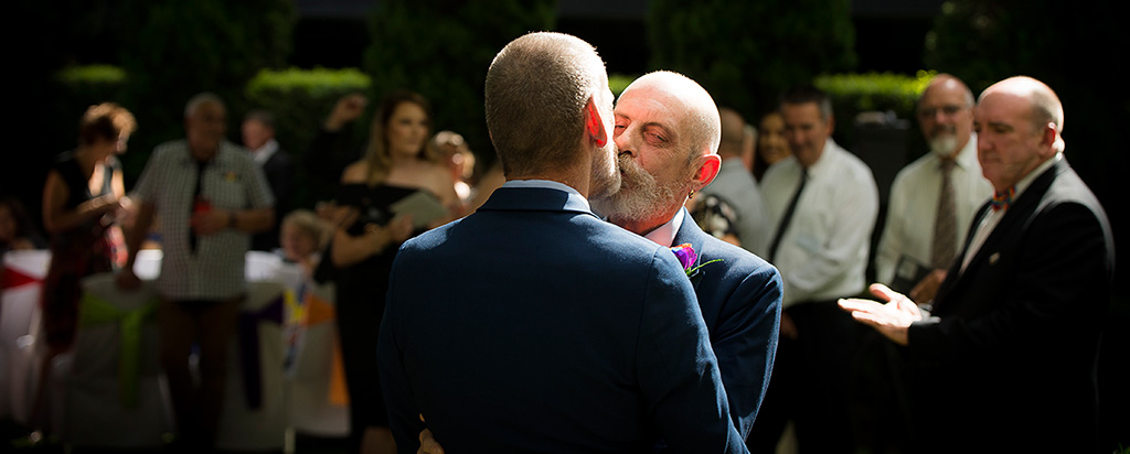 commitment ceremony kissing gay couple melbourne